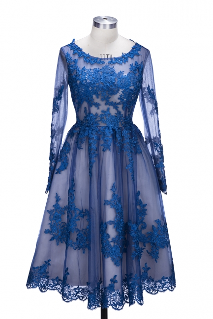 Royal Blue Short Homecoming Dresses Long Sleeves Lace Cocktail Dresses