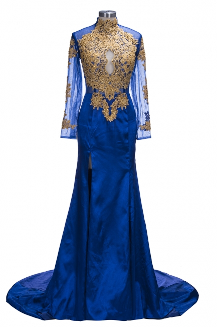 Royal Blue and Gold Prom Dresses | Long Sleeves Side Slit Evening Gowns