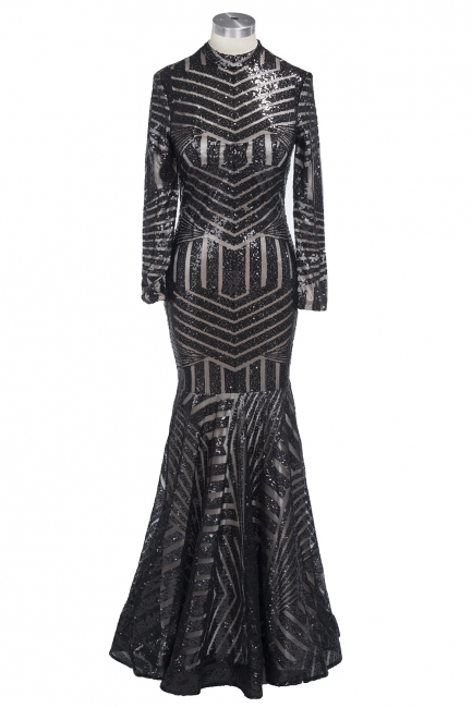 Sexy Black Mermaid High Neck Long-Sleeves Sequined Prom Dress
