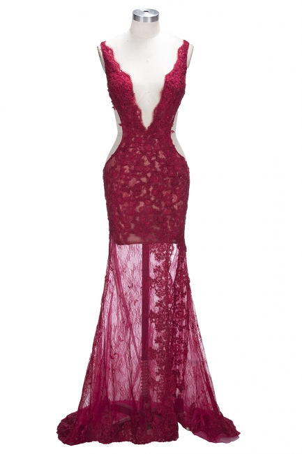 Sexy Burgundy Lace Evening Gowns | Side Split Mermaid Prom Dresses SP0386