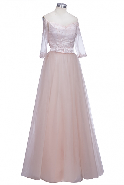 A-line Lace Off-the-shoulder Tulle Half-Sleeves Glamorous Prom Dresses