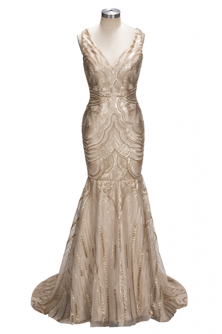 V-neck Mermaid Sleeveless Champagne Sexy Sequins Deep Gold Evening Gown