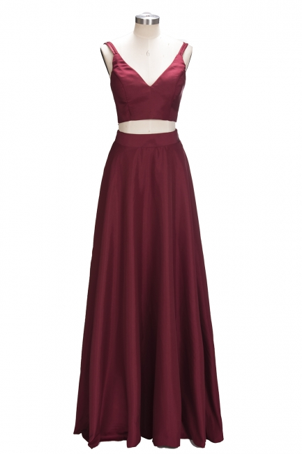Two-Piece Straps Elegant A-line Burgundy Sleeveless Prom Dress SP0316
