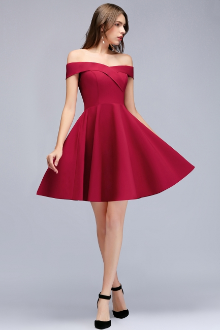 MAMIE | A-line Off-the-shoulder Short Burgundy Homecoming Dresses