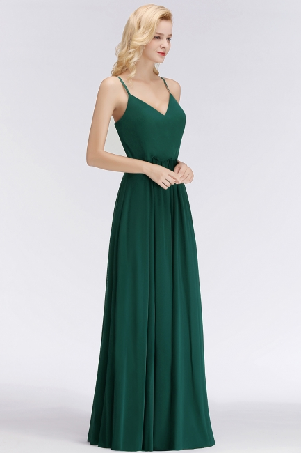 NICOLA | A-line Floor Length V-neck Spaghetti Chiffon Bridesmaid Dresses