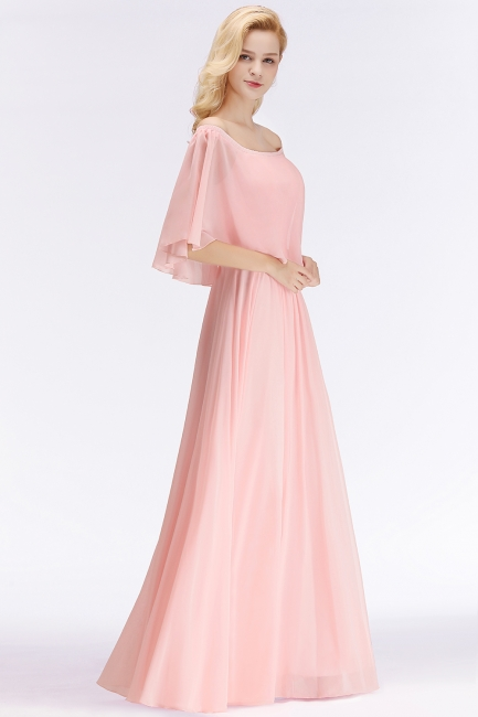 NOAH | A-line Long Off-the-shoulder Pink Bridesmaid Dresses with Sleeves