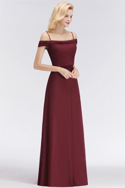 NICOLETTE | A-line Floor Length Off-the-shoulder Burgundy Bridesmaid Dresses