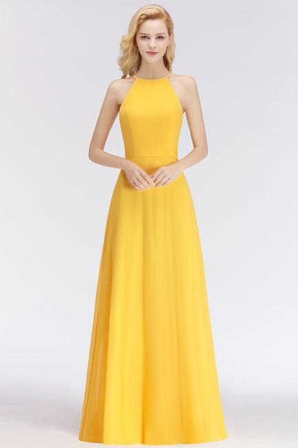 NITA | A-line Halter Sleeveless Floor Length Yellow Bridesmaid Dresses