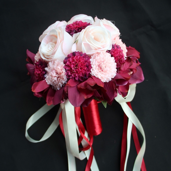 Silk Rose Artificial Orchid and Marigold Wedding Bouquet