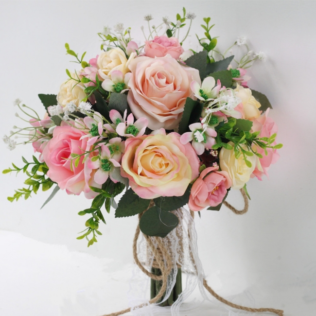 Two colors Artificial Real Touch Rose Bouquet for wedding