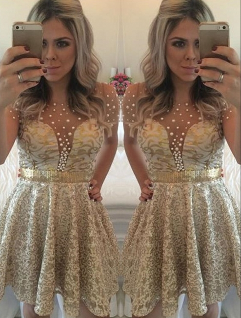 A-line Lace Short Gold Beadings Short-Sleeves Homecoming Dress