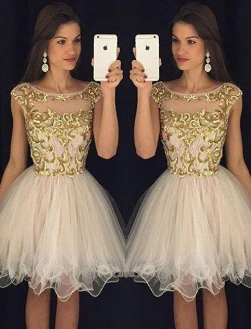 Capped-Sleeves Neckline Champagne Sheer Gold Homecoming Dresses