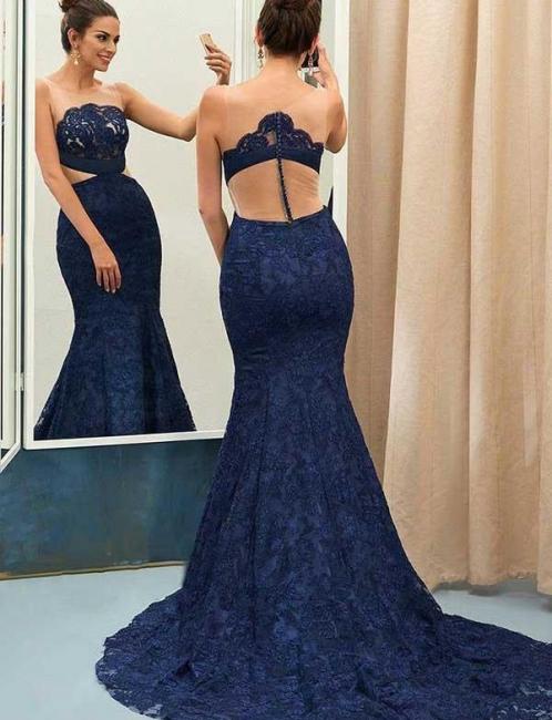 Jewel Sleeveless Sheer Zipper Mermaid Lace Prom Dresses