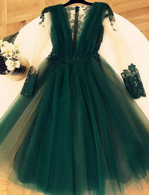 Dark Green Deep V Neck Applique A Line Homecoming Dresses | Short Sleeveess Graduation Dresses