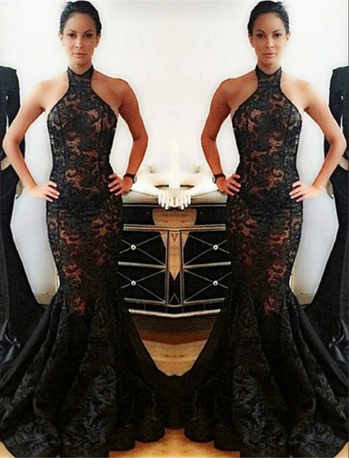 Popular Black Mermaid Halter Backless Lace Prom Dress