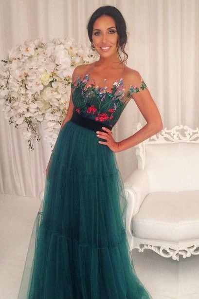 Short-Sleeves Green Appliques Tulle A-Line Prom Dresses 2018