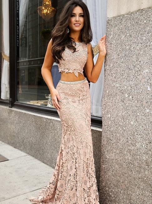 Short-Sleeve Lace Jewel Mermaid Sweep-Train Two-Piece Prom Dress