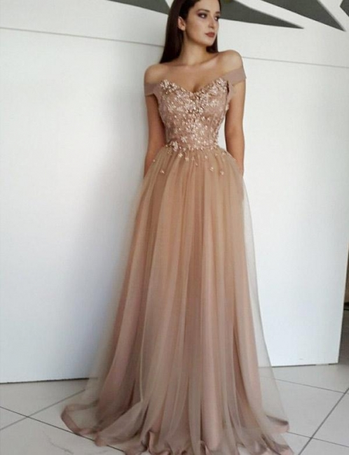 Gorgeous  Off the Shoulder Appliques A-line Tulle Prom Dresses