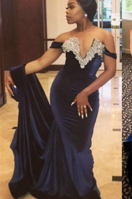 Sexy V Neck Crystal Mermaid Off Shoulder Beaded Velvet Prom Dresses