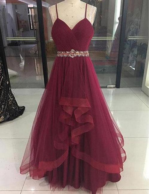 Spaghetti Straps Vneck Belted A-line Tulle Burgundy Prom Dresses