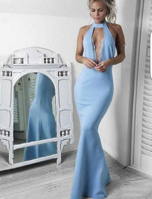 Jewel Sleeveless Deep Keyhole Fitted Baby Blue Prom Dresses