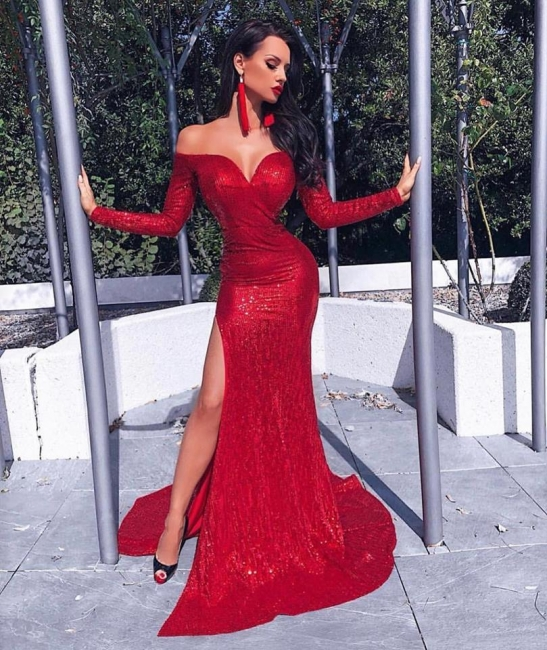 Off the Shoulder Sweetheart Long Sleeves Red Prom Dresses with Slit