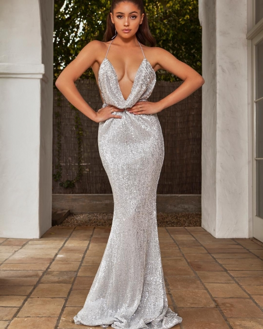 Halter Sleeveless Draped Neckline Sequined Fitted Prom Dresses