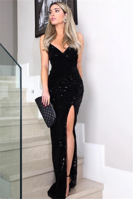 Sexy Black Spaghetti Strap V Neck Sheath Prom Dresses | Side Slit Sequined Floor Length Evening Dresses
