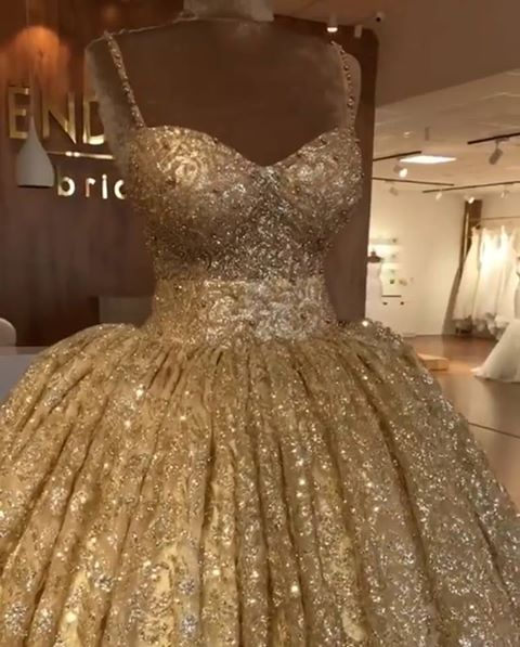 Golden Spaghetti Strap Sweetheart Backless Sequined A Line Prom Dresses | Ruffles Evening Gown
