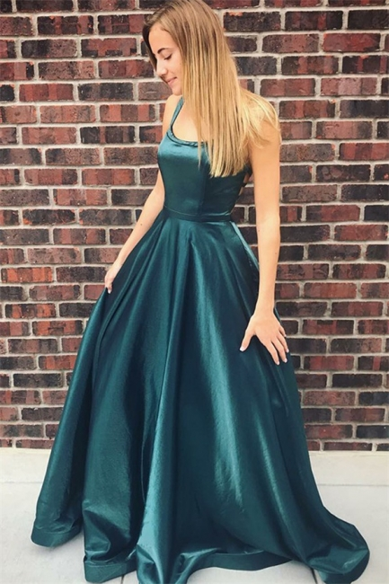 Dark Green Spaghetti Strap Backless A Line Prom Dresses | Floor Length Evening Gown