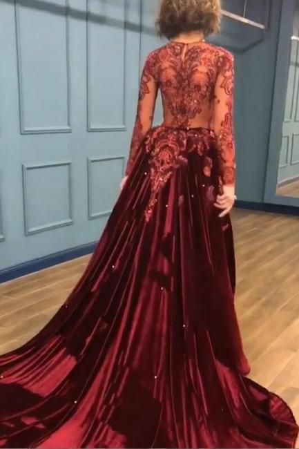 Sparkle V Neck Long Sleeve Sheath Prom Dresses | Applique Beades Evening Dresses