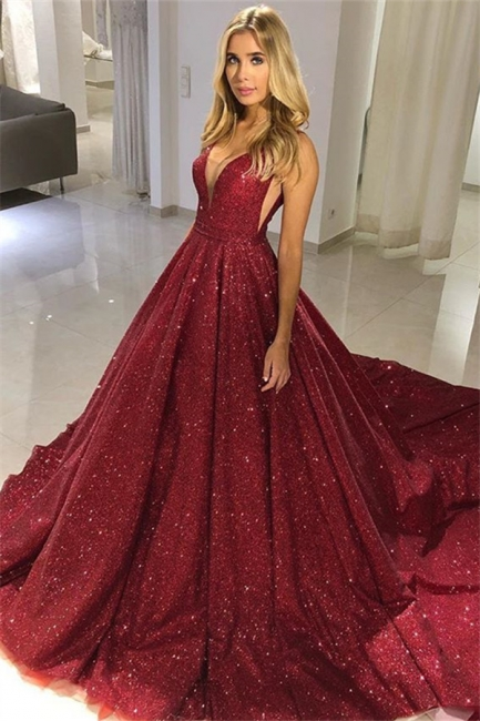 Sparkly Red Sequin V-neck Puffy Sleeveless Long Prom Dresses | Floor Length Evening Dresses