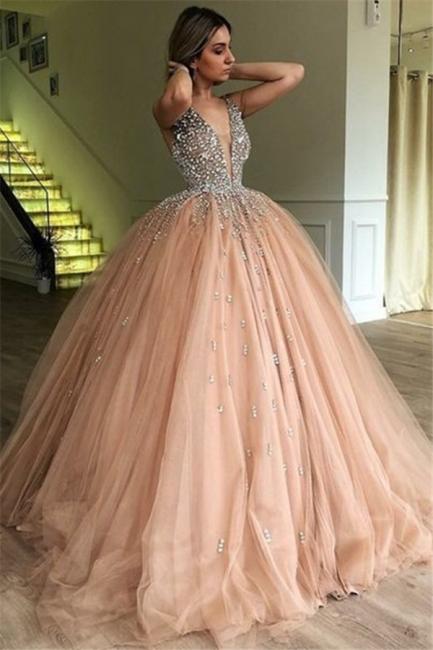 Sleeveless V-neck Beaded Tulle Ball Gown Prom Dresses