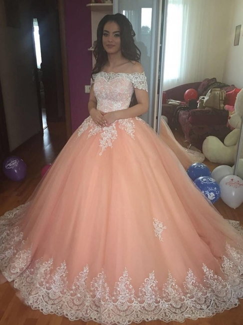 Pink Glamorous Off The Shoulder Ball Gown Prom Dresses | Applique Sweep Train Evening Dresses