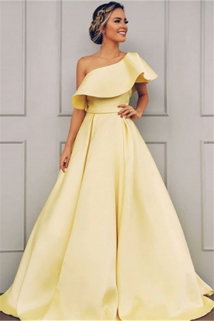 One Shoulder A Line Sweep Train Prom Dresses With Sash
