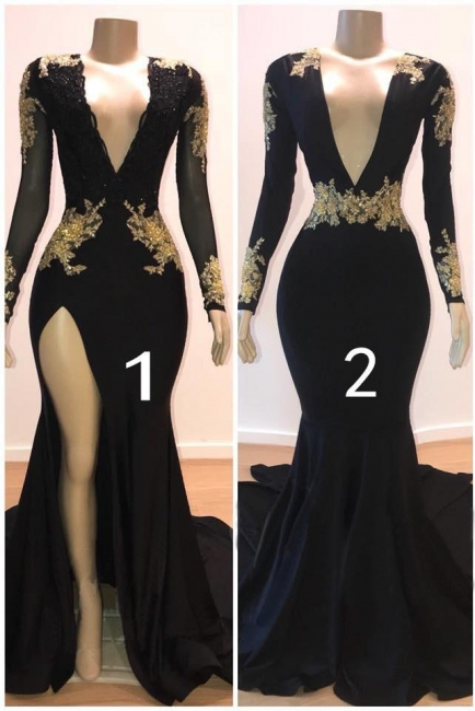Deep V-neck Long Sleeves Thigh Slit Sweep Train Black Prom Dresses