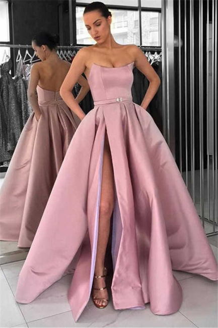 Solid Strapless A-line Thigh Slit Dusty Pink Long Prom Dresses