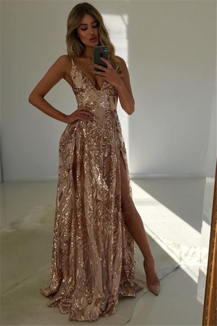 Straps V-neck High Slit Sparkly Long Prom Dresses | Floor Lenght Party Gowns