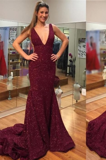 Deep V-neck Spaghetti Backless Sweep-train Sequins Mermaid Prom Dresses