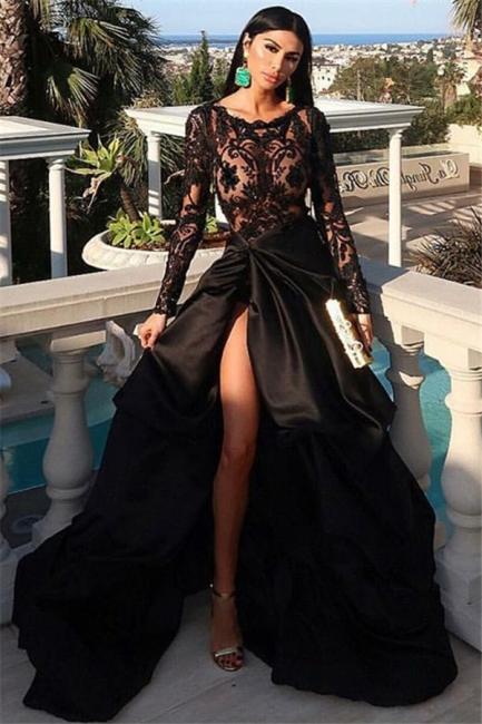 Round Neckline Long Sleevs Thigh Slit Black Lace Prom Dresses