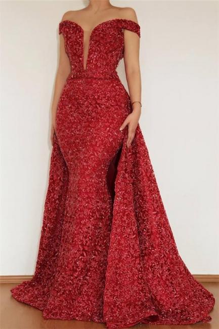 Burgundy Off The Shoulder Prom Dresses | Beaded Floor Length Evening Dresses With Detachable Skirt