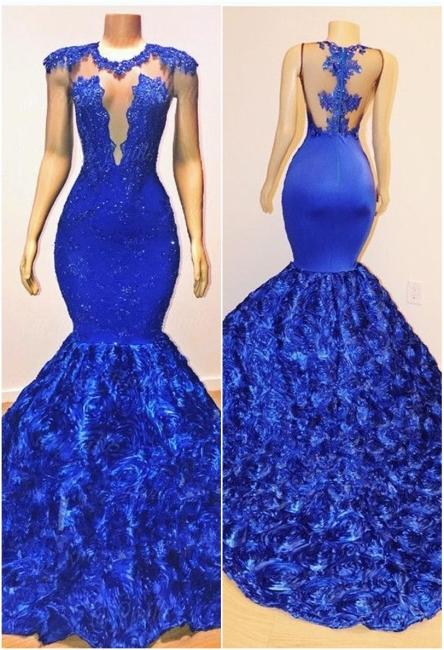 Royal Blue Cap Sleeve Lace Mermaid Prom Dresses | Beades Ruffles Evening Dresses