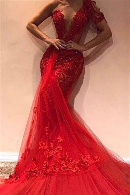 Red Off The Shoulder Applique Beading Sequined Mermaid Prom Dresses