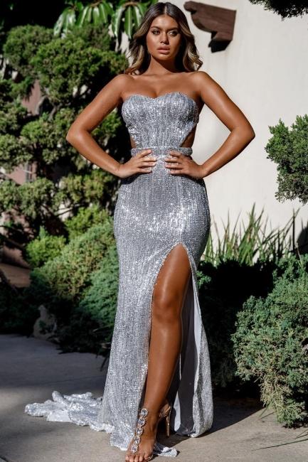 Strapless Sweetheart Side Slit Sequined Floor Length Prom Dresses
