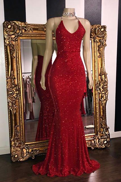 Glitter Halter Red Mermaid Prom Dresses | Sequined Floor Length Evening Dresses