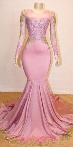 Pink Long Sleeve Appliques Prom Dresses | Elegant Mermaid Evening Gowns