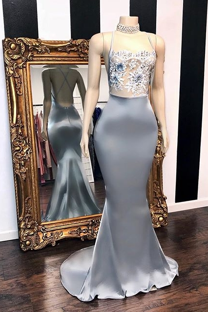 Sky Blue Scoop Sleeveless Applique Criss-cross Floor Length Mermaid Prom Dresses