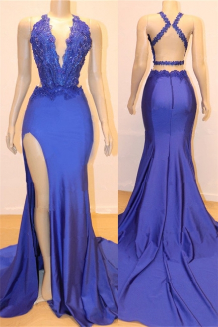 Royal Blue Halter Sheath Cheap Prom Dresses | Side Slit Criss-cross Lace Evening Dresses