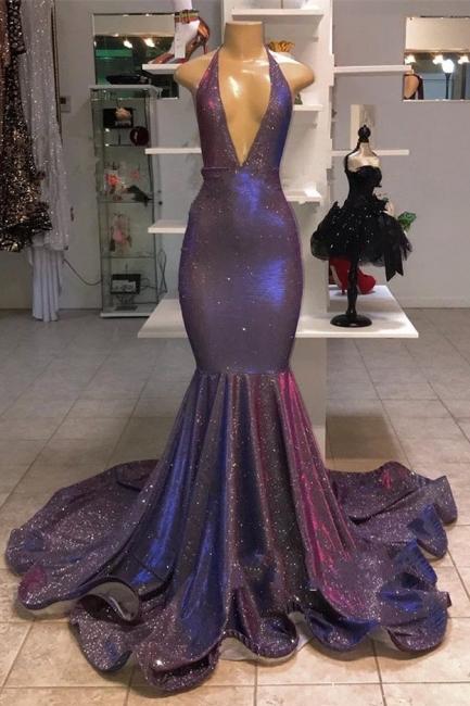 Glitter Halter Deep V Neck Mermaid Prom Dresses | Sleeveless Sequined Evening Dresses