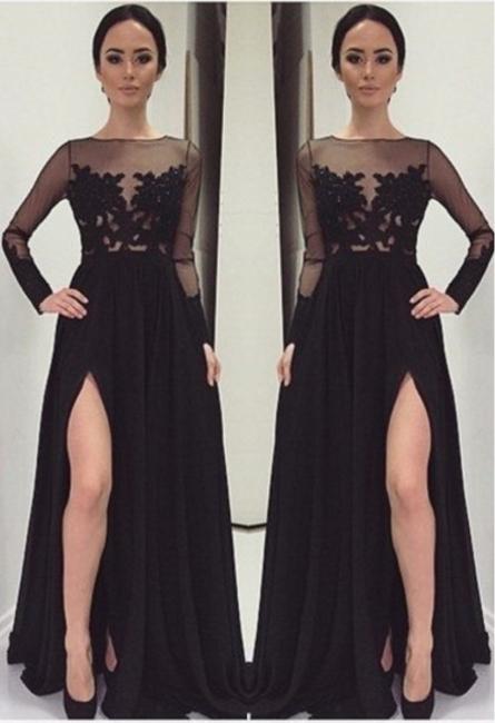 Appliques Bateau Black Long-Sleeves Elegant Side-Slit Prom Dress